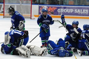 The BC Junior Canucks celebrate their 4-3 in a shootout win over the California 03's in their semi-final game at the Brick Invitational Super Novice Hockey Tournament at West Edmonton Mall on July 6, 2013. TREVOR ROBB QMI AGENCY