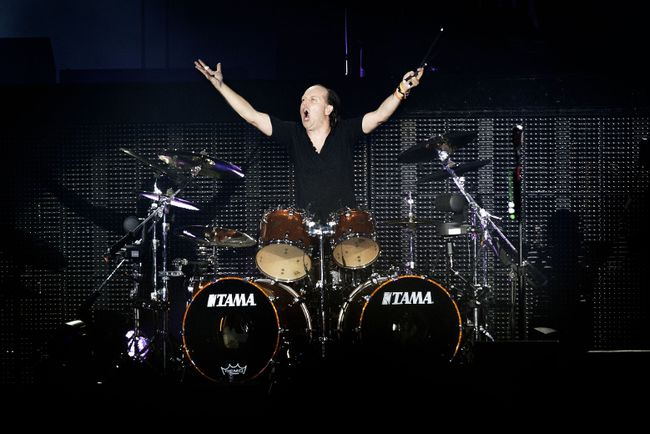 Lars Ulrich, drummer of US heavy metal band Metallica, performs on stage at the Roskilde Music Festival on July 6, 2013 in Roskilde, Denmark.      AFP PHOTO / SCANPIX DENMARK / KATRINE EMILIE ANDERSEN / DENMARK OUT