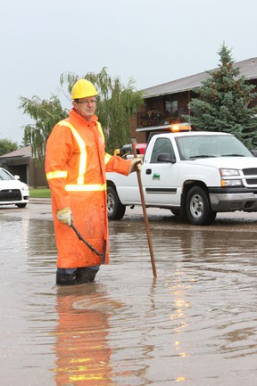 Crews from the City of Melfort were out to take care of a flood on Main Street and McKendry Ave. after flash flooding during the heavy rainfall on Friday, July 5.