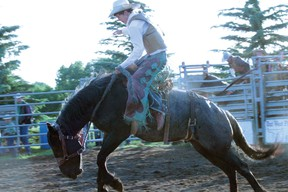 The next generation of Keeley rodeo stock, Chase Keeley,  scores a 60 in the saddle bronc on July 6.
