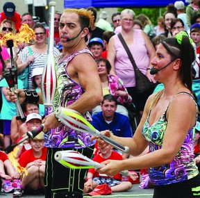 Sophie and Jacob McGrath, of Dream State Circus, have been to Kingston several times. The husband and wife team that juggles and balances off each other have returned for another festival.        ROB MOOY - KINGSTON THIS WEEK