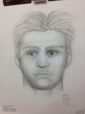RCMP sketch of a suspect involved in acts of indecent exposure at Quarry Lake in Canmore.