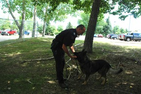 Sgt. Leon Fiedler has been with the RCMP's dog handling unit for 13 years. His current dog, Arctic, specializes in narcotics and has been with Fiedler for four years. - April Hudson, Reporter/Examiner