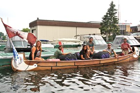 The Paddle Across Canada Tour crew (left to right): Marissa Sieck, Marc Soberano, Hollye Irvine, Scott Graham, James Humpston and Peter Vooys docking in Kenora. MARNEY BLUNT/DAILY MINER AND NEWS