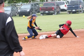 """A Melfort Heat player slides into second base during Melfort's 4-2 win over the Unity Panthers at the Under 14 """"C"""" Provincial softball in Birch Hills on Saturday, July 13."""
