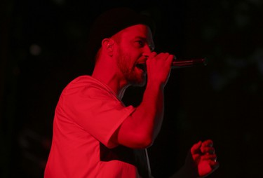 Justin Timberlake performs at Rogers Centre during Legends of the Summer tour stop with Jay-Z Wednesday, July 17, 2013. (Jack Boland/Toronto Sun)