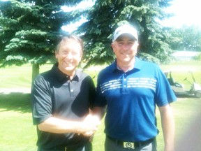 Keith Whitecotton (right) is congratulated after his win at The Ranch Golf and Country Club. - Photo Courtesy Alberta PGA