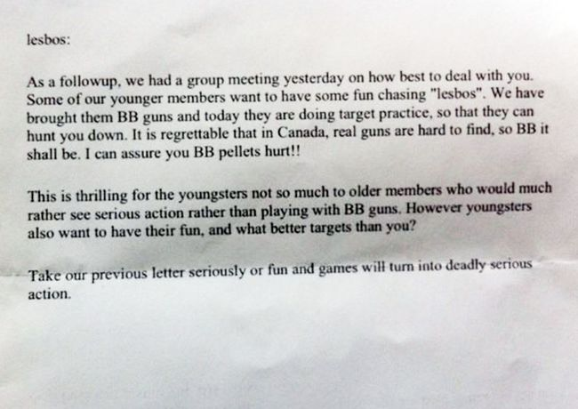 A same-sex couple in Kingston is the subject of a hate crime after they received two threatening letters Thursday, urging them to move out of town or face physical violence.