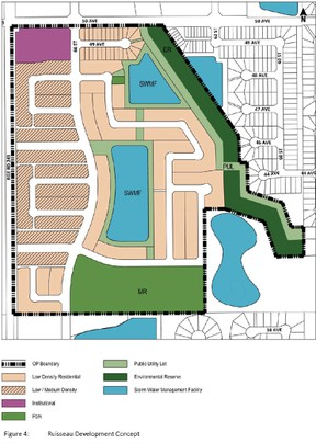 This photo of the amended outline plan shows the configuration of the new green space and storm water ponds. (Courtesy Town of Beaumont)