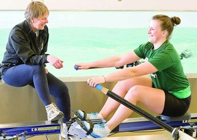 Trent University rower Sarah Rothwell, of Listowel, trains with coach Carol Love at Trent's Athletic Centre in Peterborough this spring. Rothwell, a Row To The Podium athlete, is competing Sunday in the finals at the world Under-23 championships in Austria next week. Clifford Skarstedt/Peterborough Examiner/QMI Agency file photo