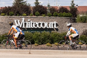 The Gozark 2013 team from the Texas 4000 charity ride stopped in Whitecourt on July 16. The team is fundraising money for cancer research and each rider is required to raise $4,500.  Christopher King | Whitecourt Star