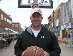 Adam Presseault, was in Urban Park Thursday to promote the fifth-annual 3-on-3 Blacktop Basketball Tournament being held in Downtown Timmins this Saturday. A block of Third Avenue will be closed off to motorized traffic to accommodate the street basketball tournament.