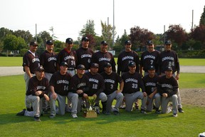 The Cadogan Nitehawks celebrate after winning the 35-plus division at the 2010 Canadian National Oldtimers Baseball Championships in Burnaby. B.C. Photo supplied.