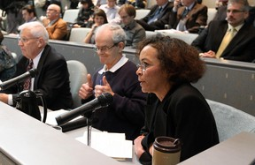 Mimi Williams speaks during a public hearing on the downtown arena at City Hall in October 2011. File Photo/QMI Agency