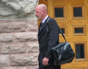 Timothy Healey leaves the Oxford County Courthouse on June 13, 2013 at the end of a four-day hearing that will determine whether his rights were violated under the Canadian Charter of Rights and Freedoms. HEATHER RIVERS/WOODSTOCK SENTINEL-REVIEW