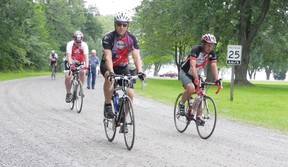 Hundreds of cyclists peddled through the area on Thursday, with stops in Mille Roches, Cornwall and Lancaster in a 600-kilometre trek between Toronto and Montreal. Staff photo/CHERYL BRINK
