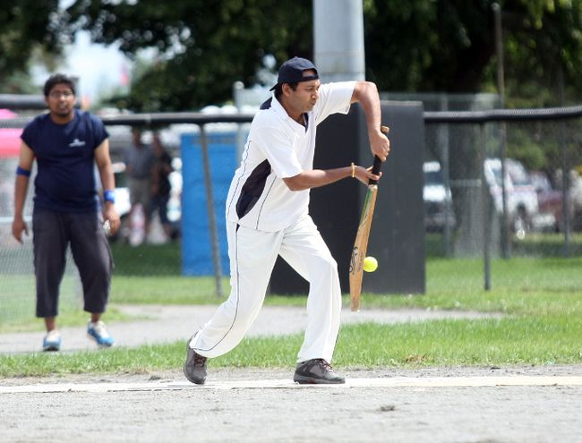 Jacob George of the North Bay Multicultural Cricket Club takes a cut Saturday during a game against the Sault Ste. Marie Cricket Club. The team is hosting its first-ever Northern Ontario Cricket Tournament this weekend. JORDAN ERCIT/The Nugget