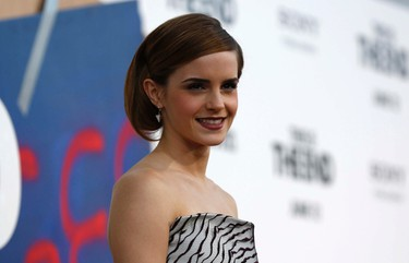 """Cast member Emma Watson poses at the premiere of """"This Is the End"""" at the Regency Village Theatre in Los Angeles, June 3, 2013. (REUTERS/Mario Anzuoni)"""