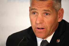 TransCanada president and CEO Russ Girling announces the Energy East pipeline to the media in an Aug. 1 press conference.