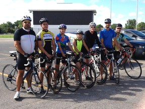 Members of the Kincardine Cycling Club take a moment before their ride on Aug. 3. L-R: Bob Richards, Cole Ockenden, Sophie Hotchkiss, Aidan Hotchkiss, Kevin Danahy, Shane Hotchkiss and Jason Laurendeau. (SUBMITTED)