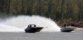 Jetboats race on the Athabasca River to compete for the Carlan Cup. Boats travel at speeds ranging from 95 m.p.h. up to 140 m.p.h. depending on their class. File photo | Whitecourt Star