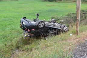 Rollover crash on Highway 101 near Bob's Lake in Timmins. Timmins Times LOCAL NEWS  photo by Len Gillis.