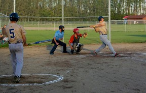 Clear Prairie at bat during the game with Grande Prairie that saw Clear Prairie win 12-4