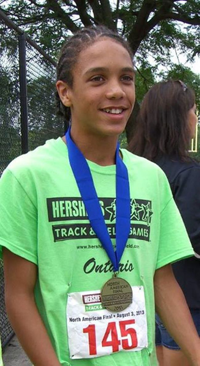 Daunte Henriques, 12, captured gold in the 400m dash at the prestigious Hershey's Track and Field Games in Pennsylvania. (Photo courtesy of Tammie Lowes)