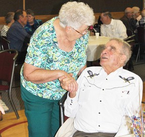 Fern Ginger was just one of the many well wishers who came to the Mayerthorpe Legion on Saturday, Aug. 10, to wish Max Pfannmuller a happy 94th birthday.