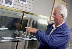 Richard Miller, a Wallaceburg metal detector enthusiast, explains the history behind the various artifacts he's uncovered over that past 10 years. Miller donated his entire collection of local history to the museum, which included rifle mini balls, gun flints, infantry buttons, various buckles, coins and other pieces that date back to early Baldoon settlers of the 1800's.