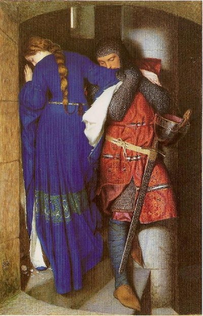 <b>Meeting on the Turret Stairs, by Frederick Burton:</b> The intimate scene of forbidden love painted by Burton is based on a Danish poem. Hellelil and her bodyguard, Hildebrand, share one last moment before Hildebrand slays seven of Hellelil's brothers and is killed himself.
