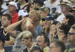 CFL Blue Bombers fans watch their team lose to the Hamilton Tiger-Cats  at Investors Group Field in Winnipeg.  Friday, August 16, 2013.
