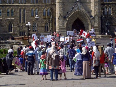 More than 100 members of Ottawa's Egyptian and Arab communities gathered to demonstrate on Parliament Hill Sat., Aug. 17, 2013, to protest chaos in Egypt. KELLY ROCHE/OTTAWA SUN