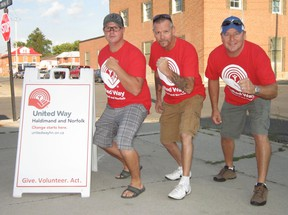 The United Way of Haldimand and Norfolk kicked off the 2013 fundraising campaign with its 9th annual Amazing Race event Friday. Among those taking part were members of Team Refined of the Esso refinery in Nanticoke. Members include, from left, Jeff Belbeck of Cambridge, Brad Matthews of Walsh and Chris Ivanis of Simcoe.  (MONTE SONNENBERG Simcoe Reformer)