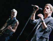 Kyle Cook, left, and Rob Thomas of Matchbox Twenty performed at Budweiser Gardens on Sunday night. (Getty Images file photo)