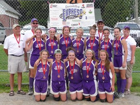 The Enniskillen Express novice girls softball team won bronze in the Grand Valley League playoffs on August 11th. The team also won the Mississauga Partnerst tournament in June and finished 9th at provincials this summer. SUBMITTED PHOTO