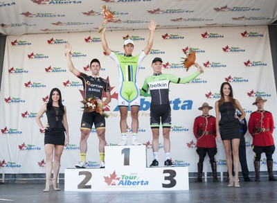 Peter Sagan finished atop the Tour of Alberta stage one podium in Camrose, Alta. Sept. 4th. Rohan Dennis finished second and Tobias Ludvigsson finished third. Sagan leads the overall standings by 23 seconds. (Mark Crown/Camrose Canadian/QMI Agency).
