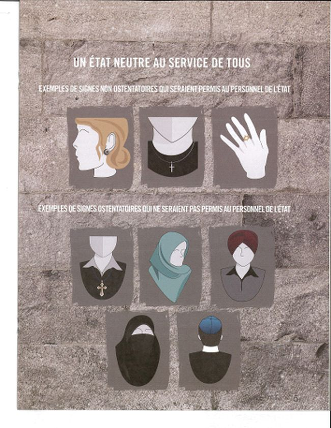A government of Quebec handout explains what religious symbols would be permitted in public-sector workplaces, at top, and what would not be, below.