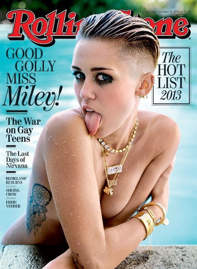 Miley Cyrus on the cover of the latest issue of Rolling Stone.