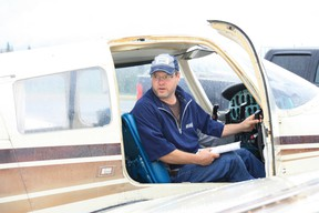 COPA club member from Whitecourt, Curtis Brownlee in a Piper Archer. COPA offered free flights to 47 kids from Whitecourt in the hopes of inspiring some to become pilots. Submitted