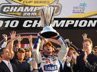 <p>In December 2006, while at a celebrity golf tournament, NASCAR superstar <b>Jimmie Johnson</b> broke his wrist attempting to surf on the roof of a golf cart.</p> <p>(Photo: Reuters)</p>