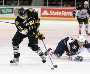 Sarnia Sting forward Brett Hargrave had the lone Sting goal in a 4-1 loss against the Kitchener Rangers on Friday, Oct. 4 in Kitchener. Hargrave is pictured here in a game against the Barrie Colts last February. OBSERVER FILE PHOTO