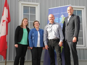 Dianne, Marianne and Dale Donaldson of Everspring Farms with MP Ben Lobb (Huron-Bruce). On Oct. 2, on behalf of Agriculture Minister Gerry Ritz, Lobb announced an investment to Everspring Farms Ltd. for the production of flour and sprouted seed products ingrained with DHA/EPA omega 3.