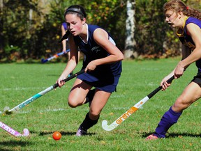 Parkside's Celia Lees goes on the attack Tuesday as the Stampeders beat the East Elgin Eagles 3-2 to secure a place in the TVRA field hockey Tier 1 playoffs. (R. MARK BUTTERWICK, St. Thomas Times-Journal)