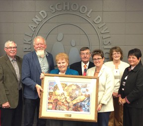 Third from left, PSD trustee Irene Goebel stands with her fellow trustees. - Photo Supplied