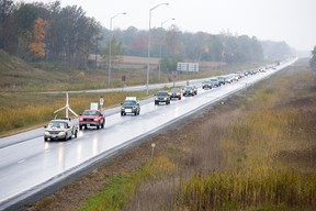 A convoy anti-wind turbine activists 4 km long traveled from Forest to Strathroy in protest on Saturday October 19, 2013.DEREK RUTTAN/London Free Press/QMI Agency