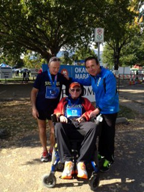 Trevor Wakelin poses with his brother Neil (l) and his friend John Stanton (r) after completing the Kelowna International Marathon on Sunday Oct. 13. submitted