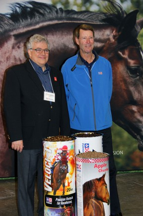 Charles Lapointe, president and managing director of Agribrands Purina Canada, a Cargill Inc. company, and 10-time Olympic show jumper Ian Millar stand at the newly renovated plant in Strathroy Oct. 23. The $11 million upgrades will focus on producing high quality equine feeds and supplements. JACOB ROBINSON/AGE DISPATCH/QMI AGENCY