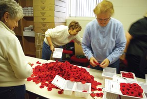 Preparing poppies for distribution