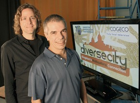 TVCogeco staff producer Michael Pontbriand, left, and volunteer community producer Joe Santos are working on the third season of DiverseCity, a showcase of multiculturalism in Kingston. Michael Lea The Whig-Standard